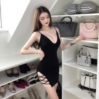 NENE - Spaghetti Strap Mini Bodycon Dress
