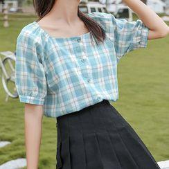Miahynn - Puff-Sleeve Square-Neck Plaid Shirt