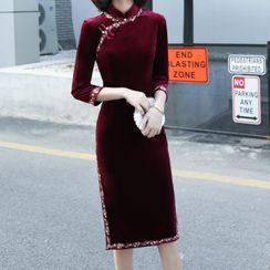 Luxury Style - Elbow-Sleeve Velvet Qipao Dress
