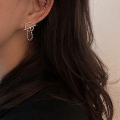 Honne - 鏈條幾何純銀耳環