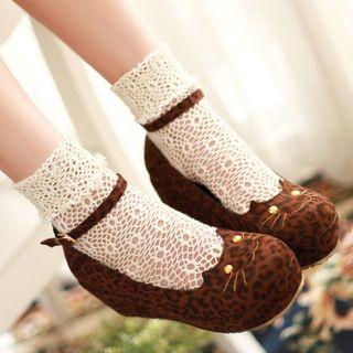 Freesia - 猫刺绣踝带船跟鞋