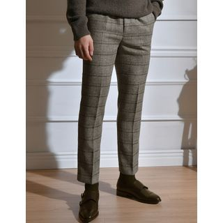 STYLEMAN - Checked Straight-Cut Dress Pants