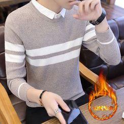 Wild Dragon(ワイルドドラゴン) - Mock Two-Piece Striped Sweater