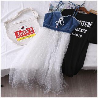 Tintou - 套装: 短袖字母印花T裇 + 幼肩带牛仔拼接网纱连衣裙