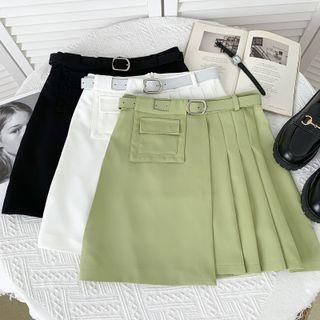 Babique - Asymmetric High-Waist Pleated Mini Skirt with Belt