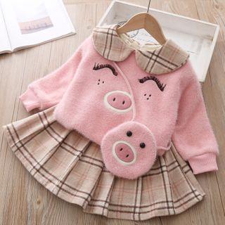 Mini Bae - Set: Kids Pig Print Pullover + Plaid Mini Skirt + Crossbody Bag