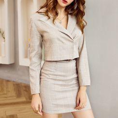 Simplee - Set: Plaid Cropped Blazer + A-Line Skirt