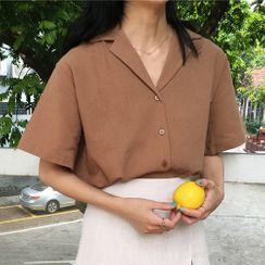 PLANNA - Notch Lapel Elbow-Sleeve Shirt