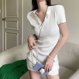 BBChic - Short-Sleeve Polo Collared Perforated Knit Skinny Dress