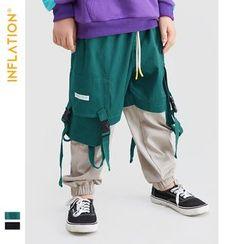 Wolandorf - Kids Buckled-Accent Colorblock Cargo Jogger Pants