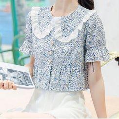 Isaaca - Floral Short-Sleeve Top