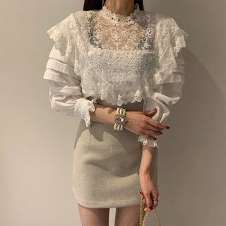 Jolly Club - Lace Panel Blouse