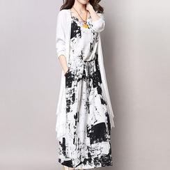 Fancy Show - 套装:印花背心裙 + 开衫