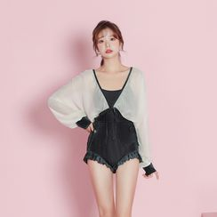 Ostinno - 套裝: 皺摺邊泳裝 + 薄紗前結帶罩衫