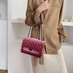 Miloes - Velvet Quilted Crossbody Bag