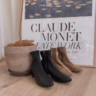 MERONGSHOP - Block-Heel Pleather / Suede Ankle Boots