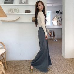 PPGIRL(PPガール) - Band-Waist Wide-Leg Pants
