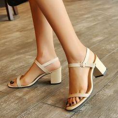 Megan - 真皮露趾粗跟涼鞋