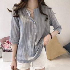 Happo - Elbow-Sleeve Striped Blouse
