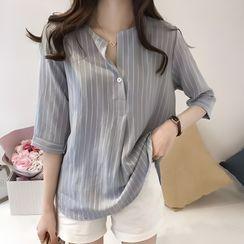 Happo - Short-Sleeve Striped Blouse