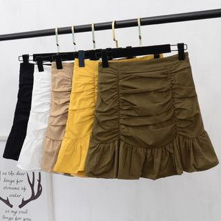 Bamifis - Mini Shirred A-Line Mermaid Skirt