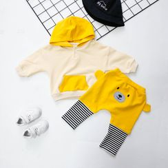 MOM Kiss - Kids Set: Color Block Hoodie + Mock Two-Piece Pants