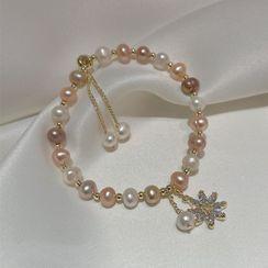True Glam(トゥルーグラム) - Flower Rhinestone Faux Pearl Bracelet