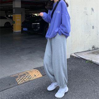 Sophia - 套装:印花宽松上衣 + 抽绳腰运动裤