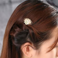 Gangnam - Retro Gemstone Flower Hair Comb