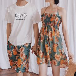 AITE - Couple Matching Floral Bikini Top / Swim Bottom / Cover-Up  / Short-Sleeve T-Shirt / Beach Shorts / Set