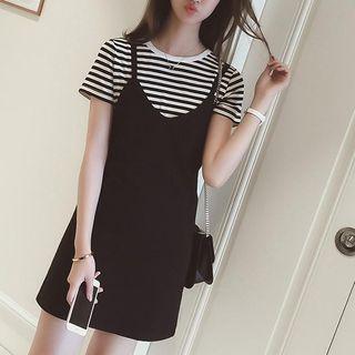 Oaksa - 套装: 条纹短袖上衣 + 多带连衣裙