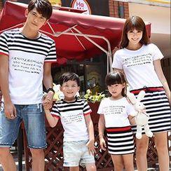Igsoo - Parents and Kids Lettering T-Shirt / T-Shirt Dress