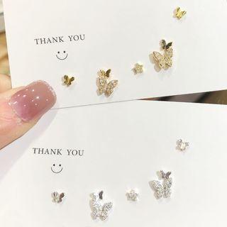 Catalunya - Set: Rhinestone Butterfly Ear Cuffs + Earrings