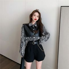 Breefriend - Printed Leopard Long-Sleeve Shirt / Leather Cape / High Waist A-Line Shorts With Belt