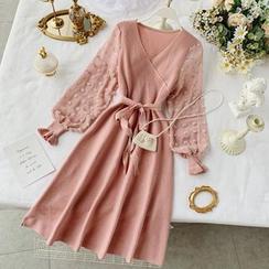 Lucuna - Dotted Chiffon Sleeves Tie-Waist A-Line Knit Dress