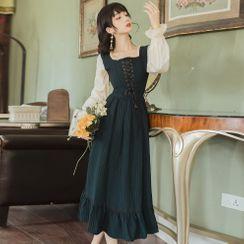 Nebbia - Mock Two-Piece Long-Sleeve Lace-Up Midi A-Line Dress