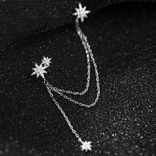 A'ROCH - 925 Sterling Silver Rhinestone Chained Earring