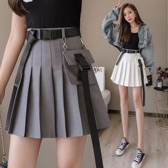 Eden's Corner - Pleated Belted A-Line Mini Skirt