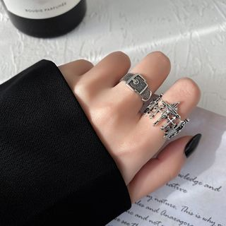 Show Mind - Cross Ring / Buckled Open Ring / Set