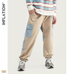 Newin(ニューイン) - Denim-Panel Cargo Jogger Pants