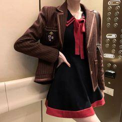 Natta - Striped Blazer / Long-Sleeve Mini A-Line Knit Dress