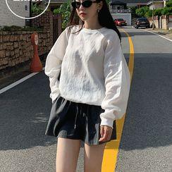 UPTOWNHOLIC - Round-Neck Loose-Fit Linen Sweatshirt
