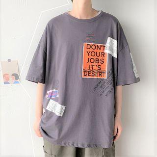 Deepwood - Elbow-Sleeve Letter Print T-Shirt