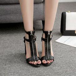 Niuna - Block Heel Snake Pattern Zipper Roman Sandals