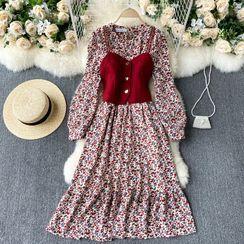 Lucuna - Set: Floral Long-Sleeve Midi A-Line Dress + Camisole Top