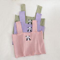 Pinatra - Panda Embroidered Knit Tank Top