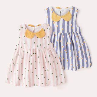 DuduBaby - 嬰兒無袖圖案絲帶連衣裙