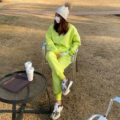 DANI LOVE - Set: Fleece-Lined Layered-Hem Sweatshirt + Jogger Pants