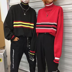 Genki Groove - Couple Matching Striped Mock Neck Sweater