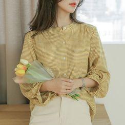 JUSTONE - Mandarin-Collar Puff-Sleeve Checked Blouse
